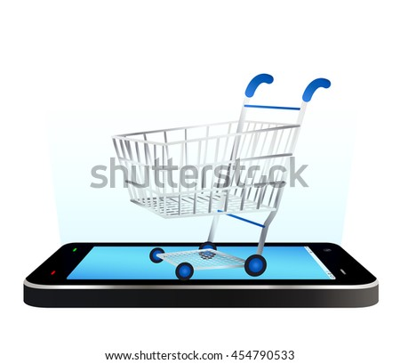 smartphone with a shopping cart