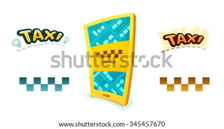 Smartphone with application Taxi, checkerboard sign and taxi logos, vector illustration - stock vector