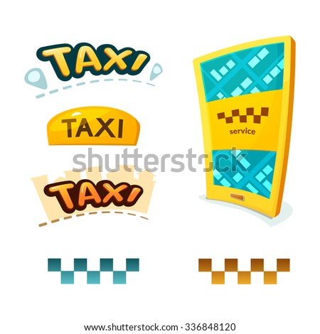 Smartphone with application Taxi, yellow illuminated taxi sign, checkerboard sign and taxi logos, vector illustration - stock vector