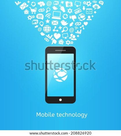 Smartphone with applications icons on blue background, concept of mobile technology - stock vector
