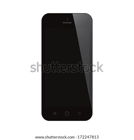 smartphone with black screen on isolated  background