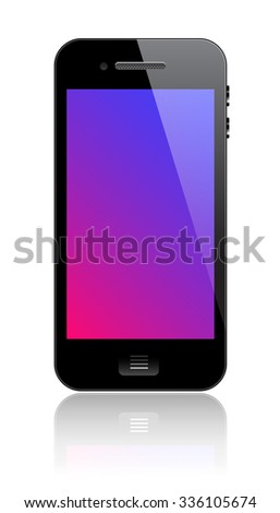 Smartphone with blank colorful screen. Front of phone. Modern communication device with phone, internet browsing, multimedia and photo and video camera functions. Superrealistic vector illustration - stock vector