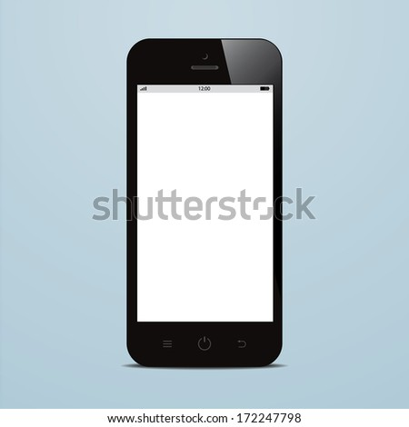 smartphone with blank screen on blue background