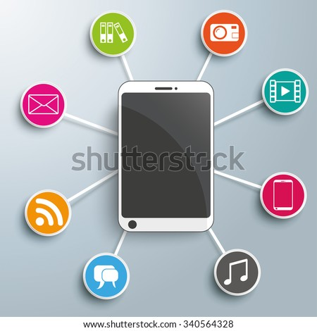 Smartphone with circles on the gray background. Eps 10 vector file.