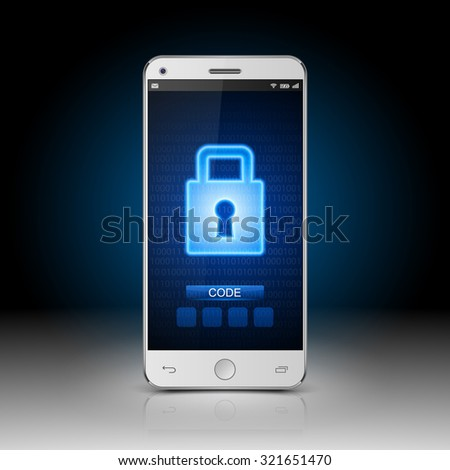 Smartphone with closed lock,vector - stock vector