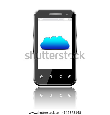 Smartphone with cloud computing symbol on a screen