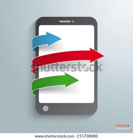 Smartphone with colored arrows on the grey background. Eps 10 vector file.