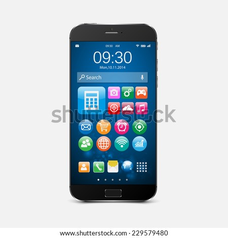 Smartphone with colorful application icons.vector - stock vector