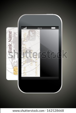 smartphone with credit card, concept digital payment - stock vector