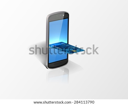 Smartphone with credit card. Vector
