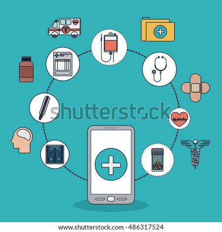 Smartphone with cross shape and icon set. Medical and health care theme. Colorful design. Vector illustration