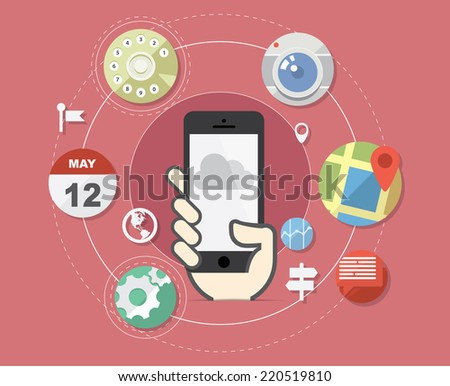 Smartphone with flat style application icons - stock vector