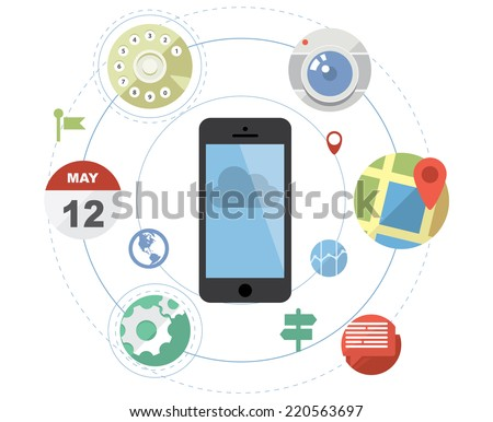 Smartphone with flat style application icons