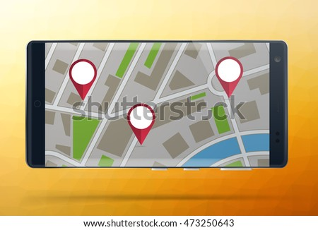 Smartphone with gps theme, cell phone with map and navigation pin, route travel with phone flat design vector illustration