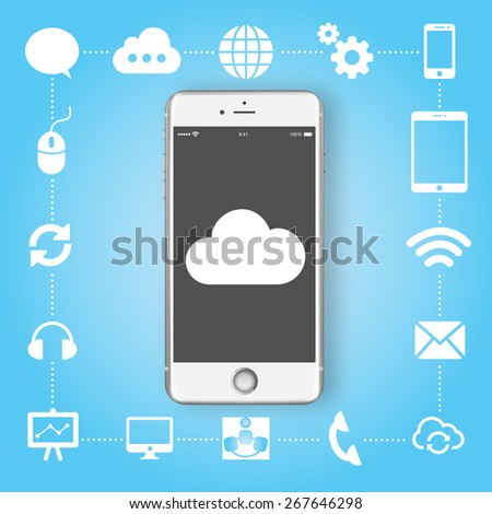 smartphone with lots of multimedia icons and stylish mobile user interface on the phone. Flat design modern vector illustration infographics concept  on blue background: cloud, chat, globe icon set - stock vector