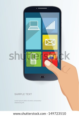 Smartphone with metro interface in the hand - stock vector