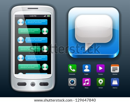 Smartphone with mobile chat and social icons - stock vector
