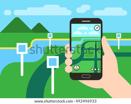Smartphone with mobile gps navigation system and map with pins. Vector app game concept. Location seach positioning illustration