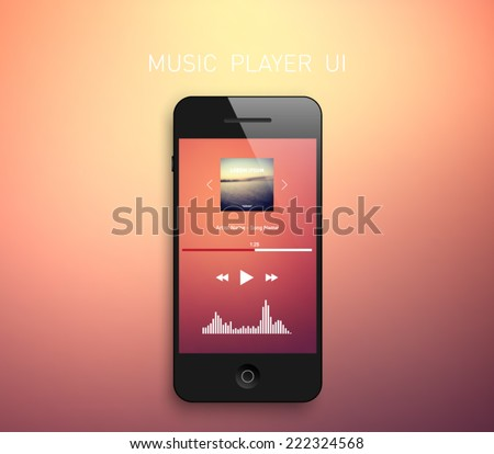 Smartphone with music media player interface template and blurred background, elegant design. Clean and modern style. Multimedia, technology, application, mp3, audio, touch, equalizer, radio - stock vector
