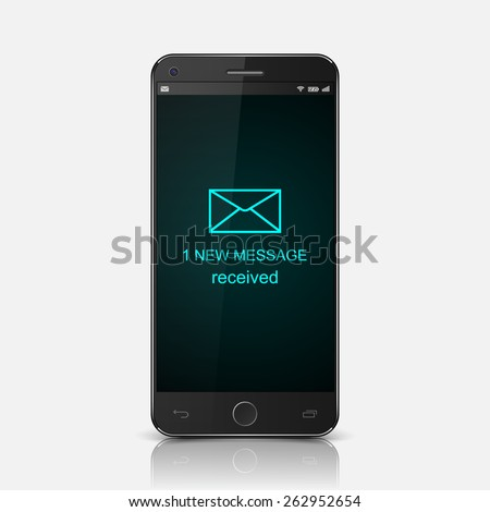 Smartphone with one new message on a screen,vector - stock vector