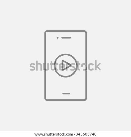 Smartphone with play button on a screen line icon for web, mobile and infographics. Vector dark grey icon isolated on light grey background.
