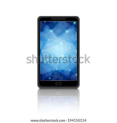 Smartphone with polygonal background on display. EPS10 vector