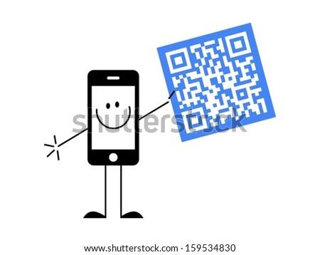 smartphone with qr code - stock vector