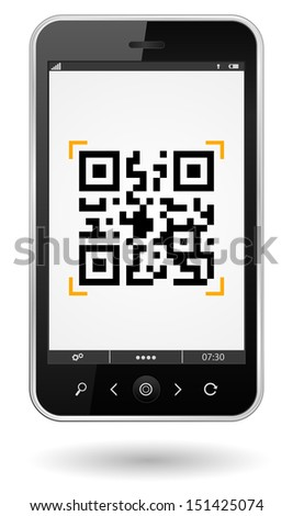 smartphone with qr-code icon - stock vector