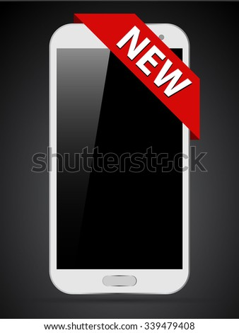 Smartphone with red ribbon - stock vector