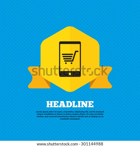 Smartphone with shopping cart sign icon. Online buying symbol. Yellow label tag. Circles seamless pattern on back. Vector - stock vector