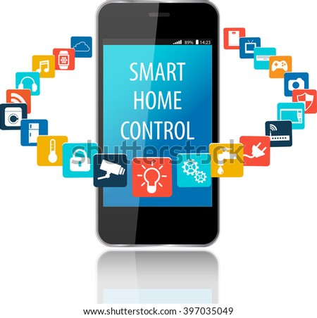 Smartphone Smart House Apps Internet Things Stock Vector (2018 ...
