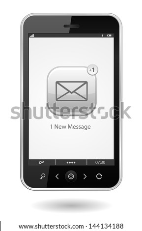 smartphone with sms icon - stock vector