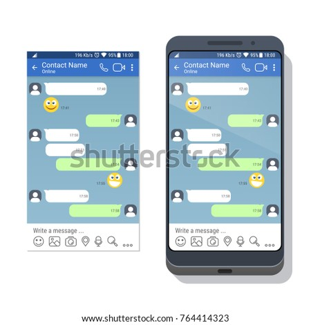 Smartphone social network messenger application template stock smartphone with social network or messenger application template for mobile device on the screen chat pronofoot35fo Images