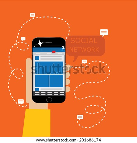 smartphone with social network page - stock vector