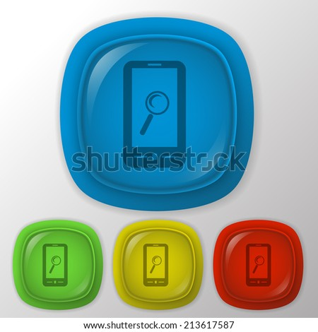 smartphone with the symbol magnifying glass.