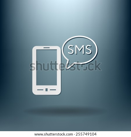 smartphone with the symbol of  cloud of sms dialogue - stock vector