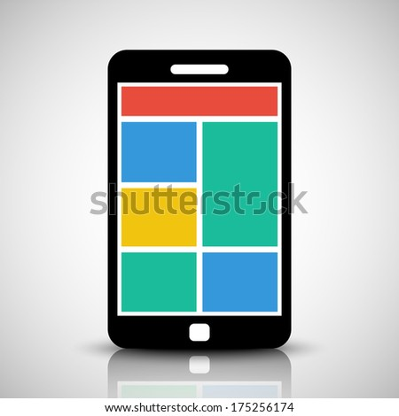 Smartphone with tiled style graphic user interface - stock vector