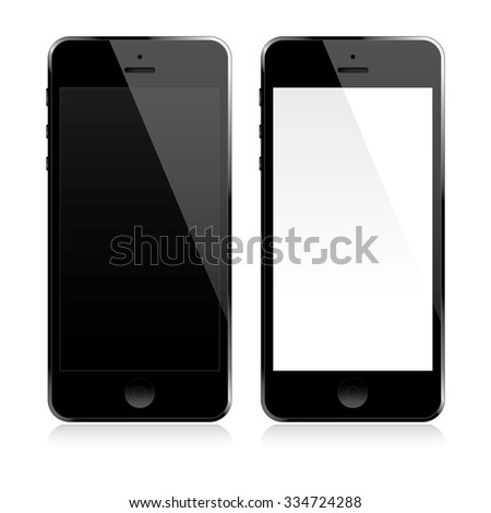 Smartphone with white and black screen - stock vector