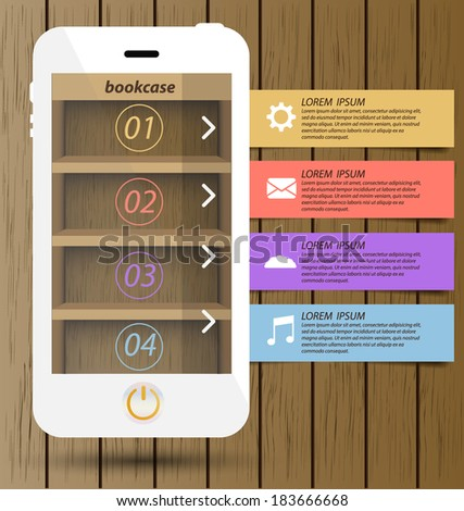 Smartphone with wooden bookcase background on screen for ebook. Modern infographic design template. - stock vector