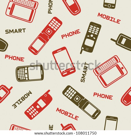 Smartphones and mobile phones on a beige background, seamless wallpaper - stock vector