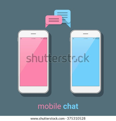 Smartphones with colorful speech bubbles on a dark background. Mobile chat, online messages. Modern infographic template. Flat vector illustration. - stock vector