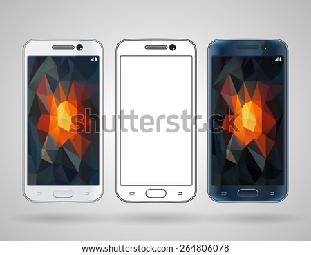 Smartphones with sloped edges vector mockup, black and white templates - stock vector