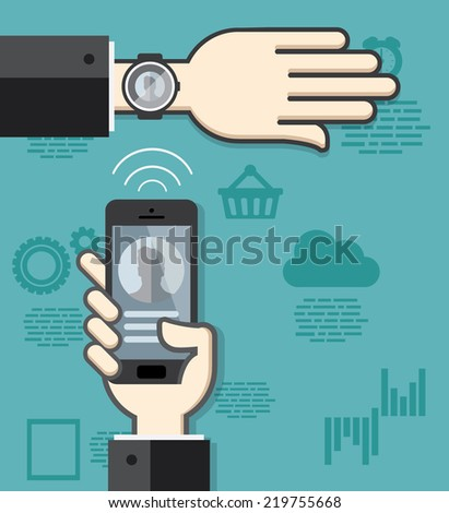 Smartwatch and smartphone communication. Smartphone sending contact details to smartwatch via wireless connection - stock vector