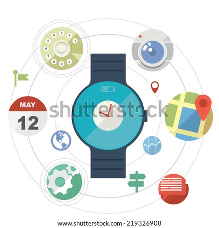 Smartwatch concept with icons in modern flat design