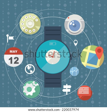Smartwatch concept with icons in modern flat design - stock vector