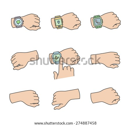 Smartwatch on a wrist icons. Vector illustrations - stock vector