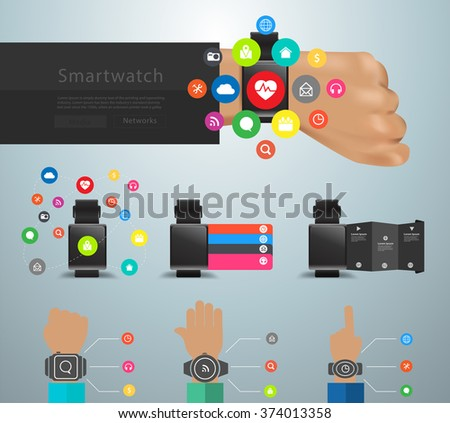 Smartwatch social media networks user interface application icons kit, Innovation technology creative design abstract infographic layout, diagram, step up options, Vector illustration modern template - stock vector