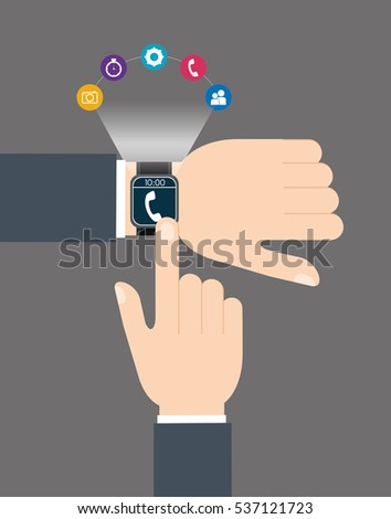 smartwatch wearable technology icon image vector illustration design