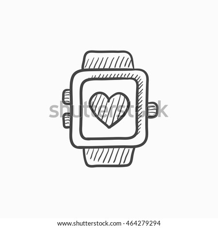 Smartwatch with heart sign vector sketch icon isolated on background. Hand drawn Smartwatch with heart sign icon. Smartwatch with heart sign sketch icon for infographic, website or app.
