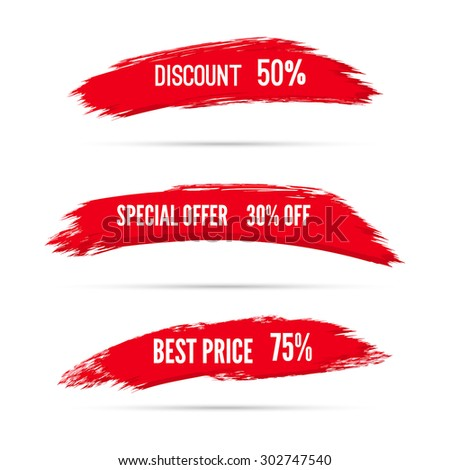 Smear a watercolor painting. Discount goods. Special offer, best price of 50 off.  - stock vector